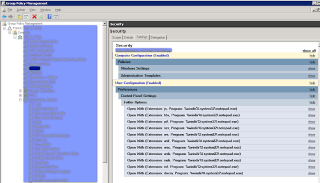 Use GPO to change the associated program of potentially malicious file extensions.
