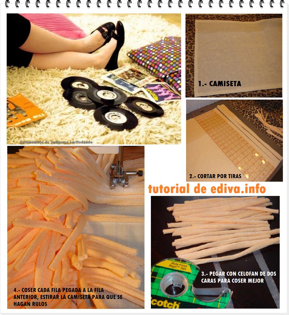 alfombra, camisetas, reciclar, transformar, decoración, diys