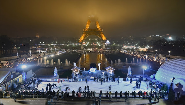 Pistas de patinação de Paris em dezembro