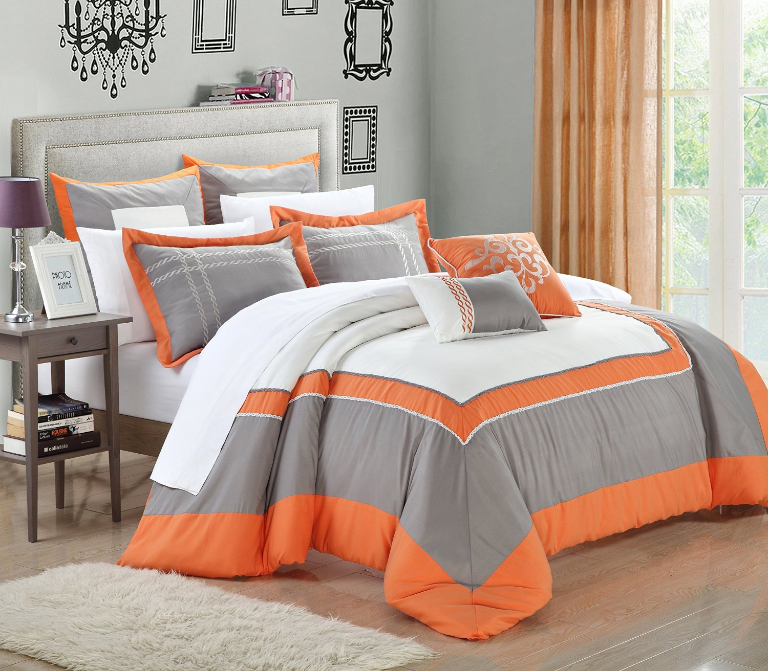 queen chic king amazon com cotton set piece paisley kitchen size pattern orange home comforter boho moroccan dp bedding grey quilt