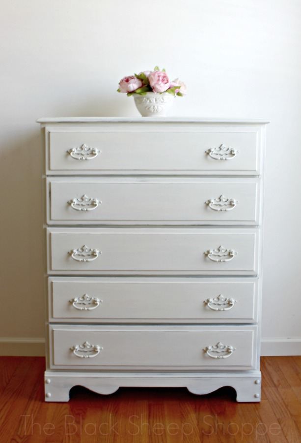 I painted the entire dresser in Old White for a classic elegant finish.