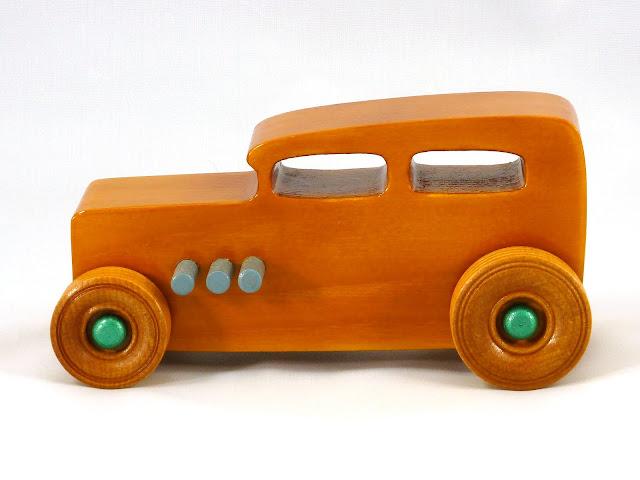 Left Side - Wooden Toy Car - Hot Rod Freaky Ford - 32 Sedan - Pine - Amber Shellac - Metallic Green - Gray