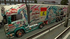 Miku Scania R skin + trailer mod