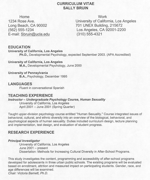 How To Write A Curriculum Vitae Ucla - C.V. Writing & Samples