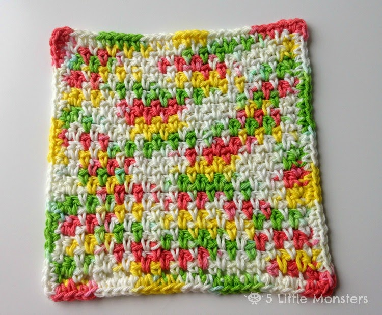 5 Little Monsters: My Favorite Dischloths: Moss Stitch Dishcloth
