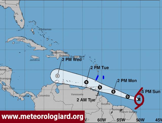 Depresión tropical próximo al Caribe