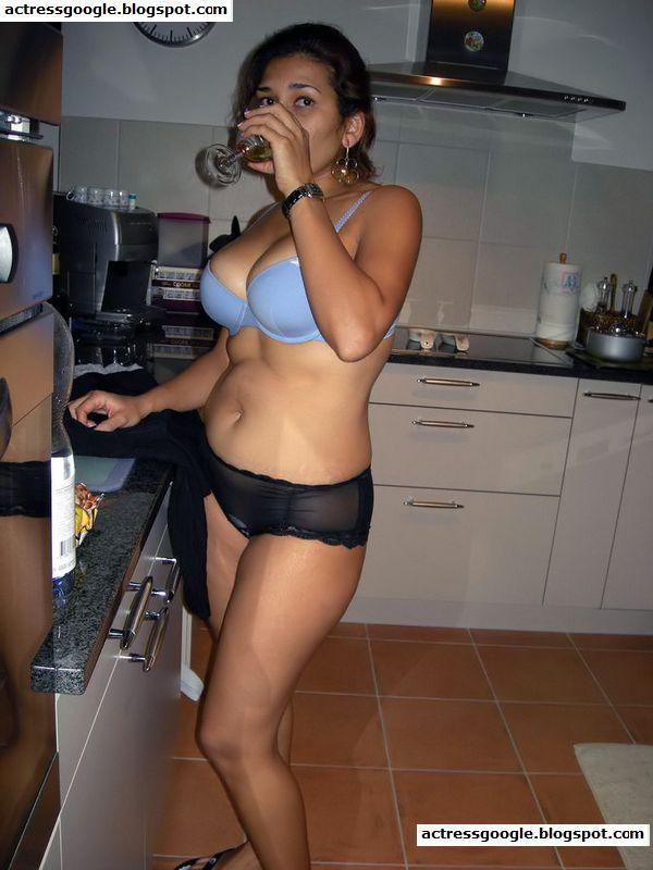 Desi Hot Girl Drinking Beer In Kitchen Room And Doing