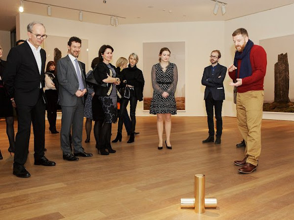 Mudam president Princess Stephanie visits Grand Duke Jean Museum of Modern Art. wears dress, valentine's day gift