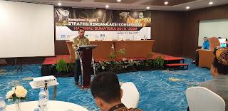 Staf ahli Kemasyarakatan SDM Membuka Konsultasi Publik Renstra Konservasi Harimau Sumatera Region Sumbagsel.