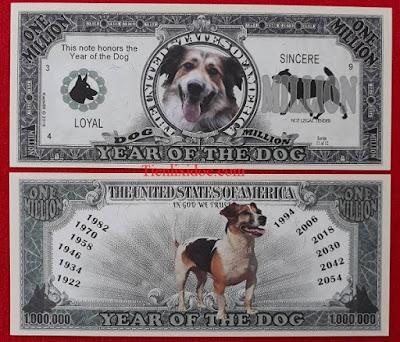 Tiền Triệu Usd Hình Con Chó - 1 Triệu Đô La