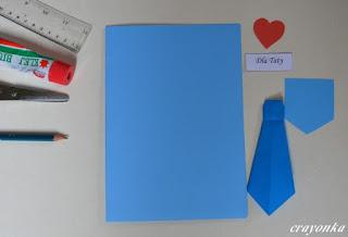 materiały potrzebne do wykonania katki z krawatem origami na Dzień Ojca