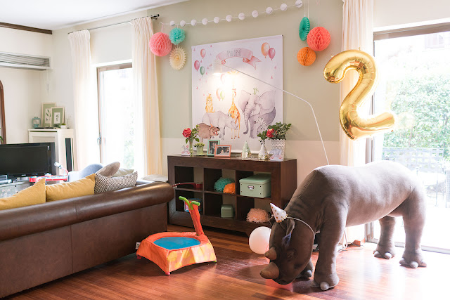 pastel jungle party, wall decor,  fan backdrop,  huge rhino, foil balloon, 2nd birthday