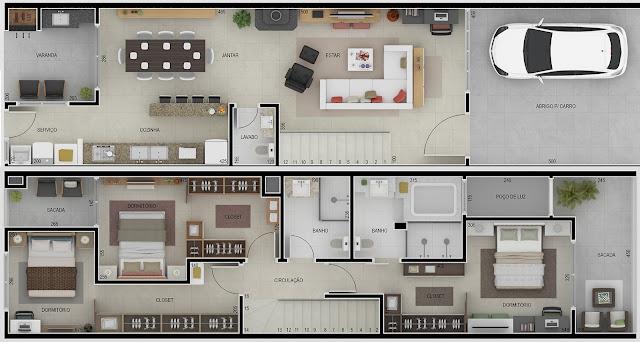 planta baixa de casa geminada-sobrados-fachada de casas