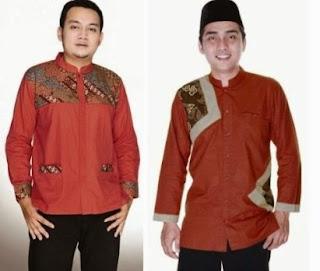 Model baju batik kombinasi polos remaja pria muslim
