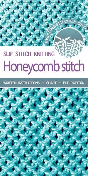 KnittingStitches.org -- Honeycomb Slip Stitch (aka Stamen Slip Stitch), it is a great texture, very dense and stretchy. I like the look of it; even the wrong side looks presentable! #knit #knitted #learntoknit
