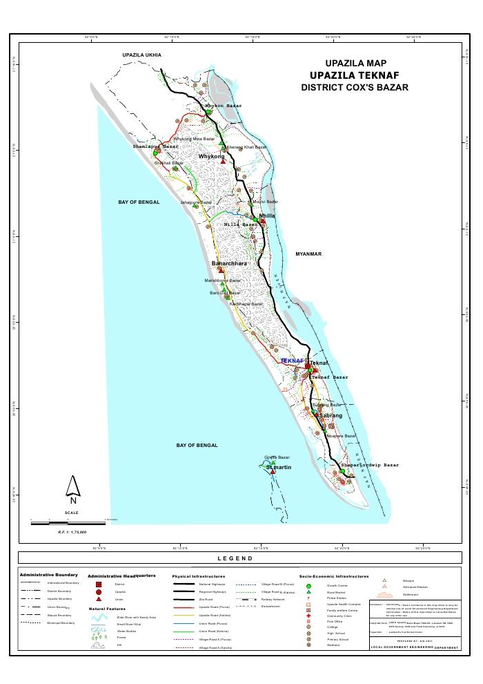 Teknaf Upazila Map Cox's Bazar District Bangladesh