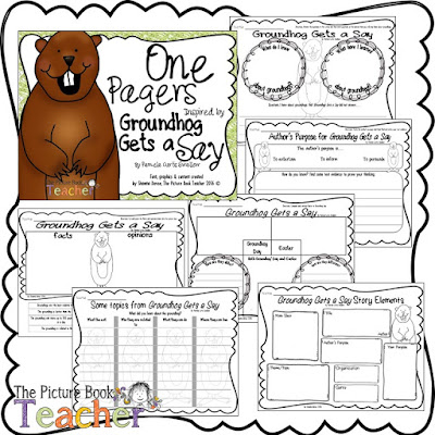 One Pager activities to go with the book Groundhog Gets a Say by Pamela Curtis Swallow.