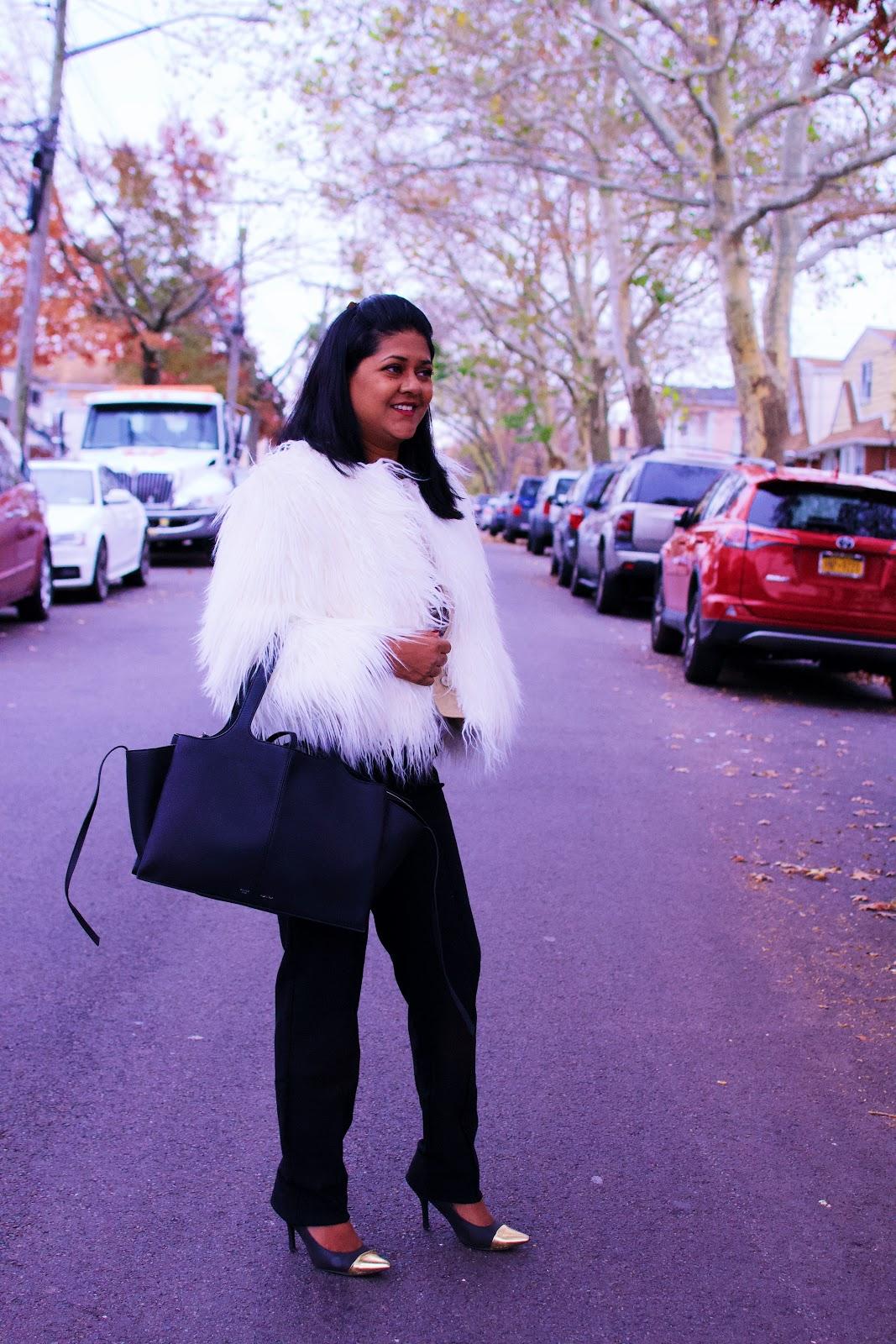 faux fur jacket, jackets to wear in new york city, celine trifold bag