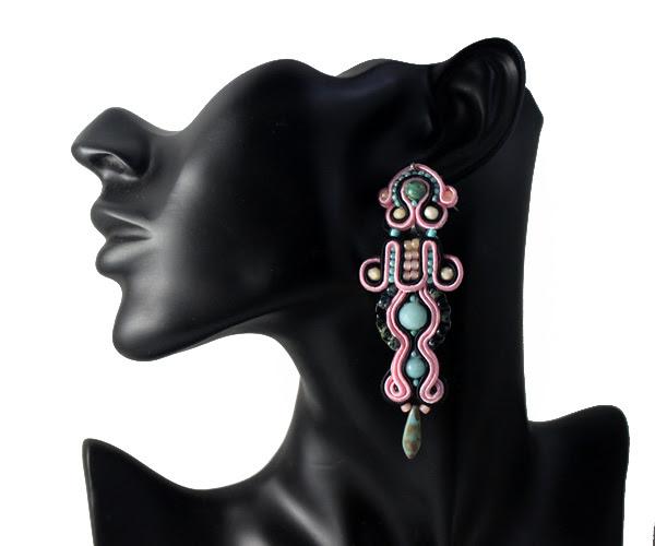 soutache earrings, firenzo, handmade with love, mint, pastel pink, black, contrast combination, handcrafted, jewellery, jewelry, sutasz, wiolaj,
