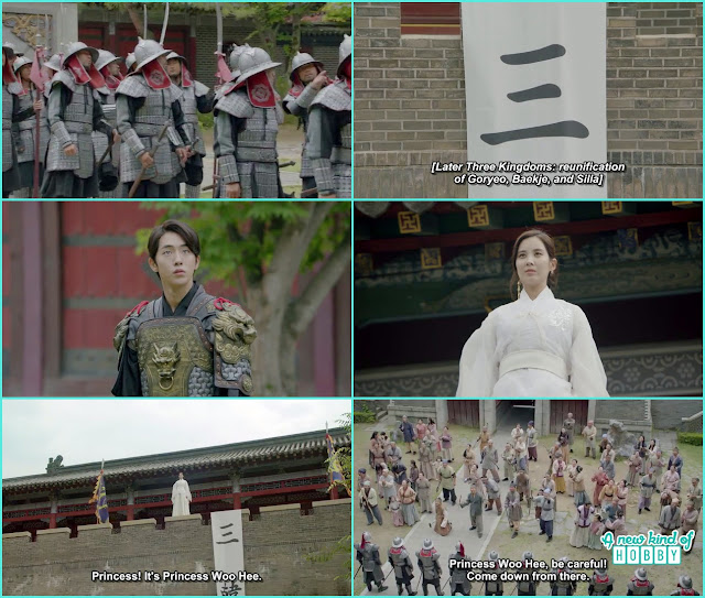 baekja people arrive in the palace and saw woo hee on the top wearing white clothes - Moon Lovers Scarlet Heart Ryeo - Episode 19