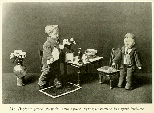 Mr. Wolsen gazed stupidly into space, an image from Marjorie's Literary Dolls by Patton Beards