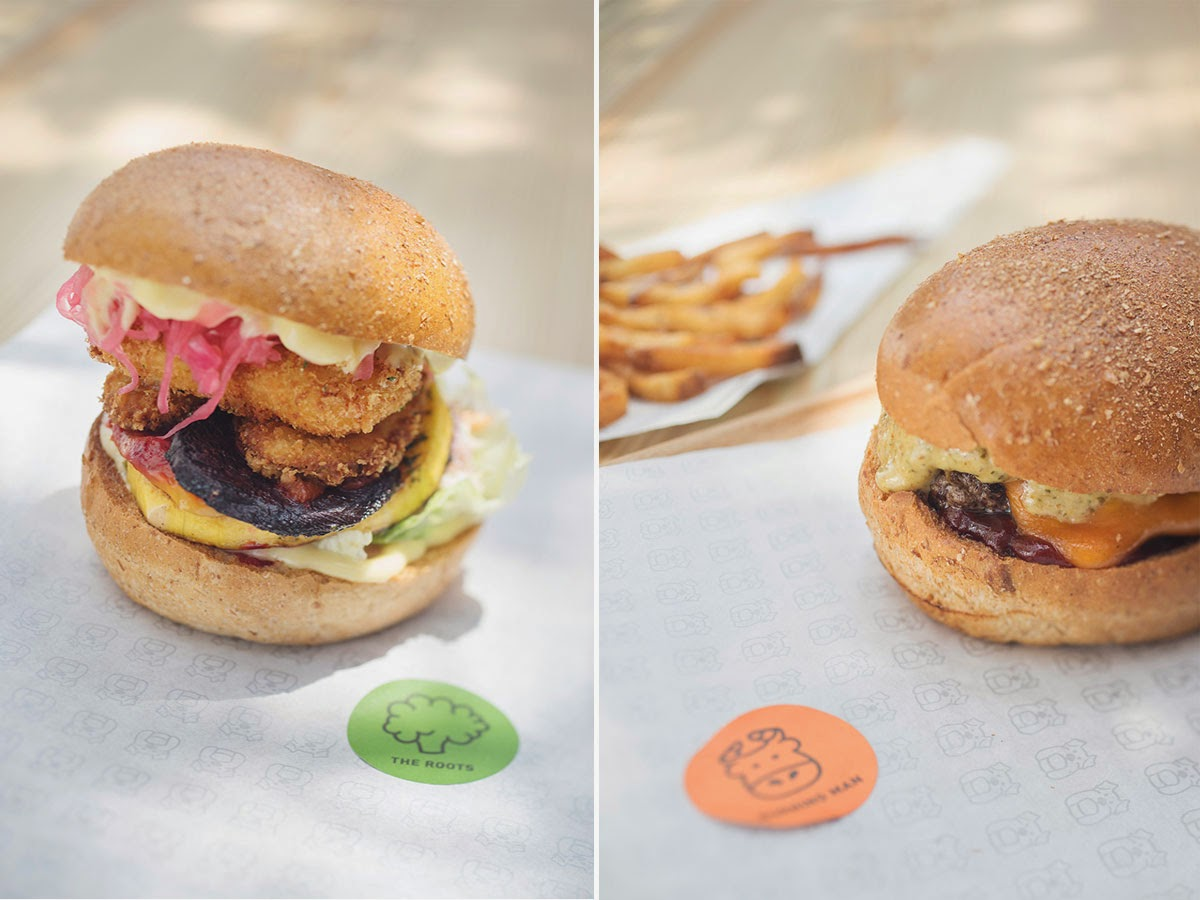 Left: The Roots - vegetables, cheese fritter, coleslaw, lettuce, pickles, hot sauce & mayo | Right: Burning Man - Prime 150 gr beef patty, cheese, roasted jalapeno relish, hot ketchup & dashi mayo