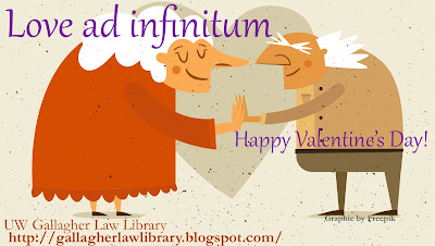 "Cartoon, white-haired, elderly couple, facing each other and touching outstretched hands, heart in the background. Words ""Love ad infinitum"" above, and ""Happy Valentine's Day"" on the side."