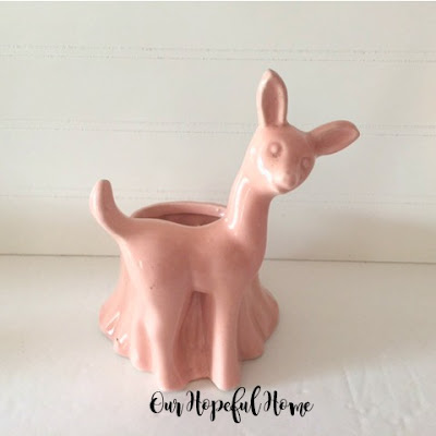 pink deer doe fawn ceramic planter tree trunk container