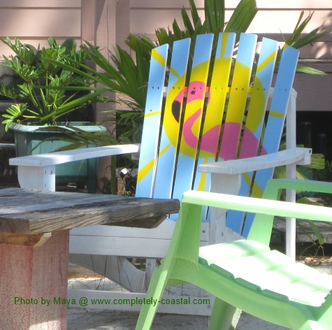 painted beach Adirondack chairs