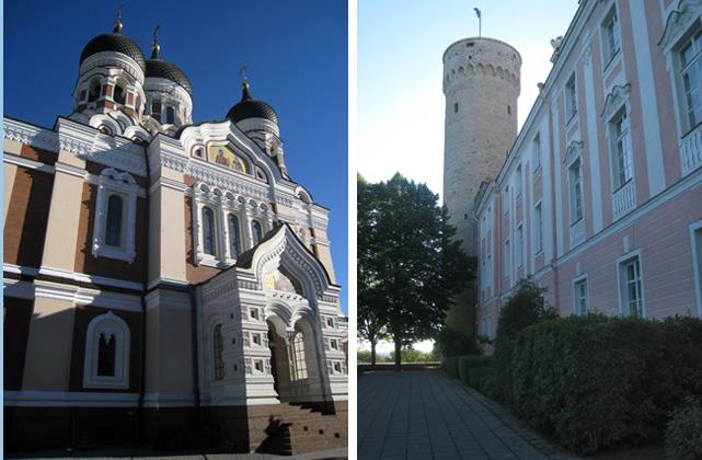 Catedral de Alejandro Nevsky (izda.) y la Torre Pikk Hermann, parte del conjunto del Parlamento y Gobierno estonios