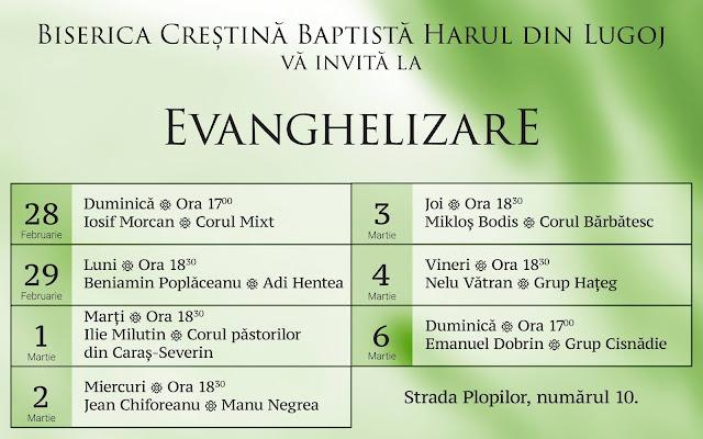 Evanghelizare la Biserica Harul din Lugoj (28 feb - 06 martie 2016)