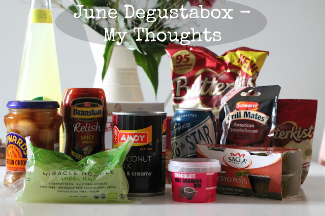 June Degustabox my thoughts - picture of contents of box - header image for blog post reviewing each individual item