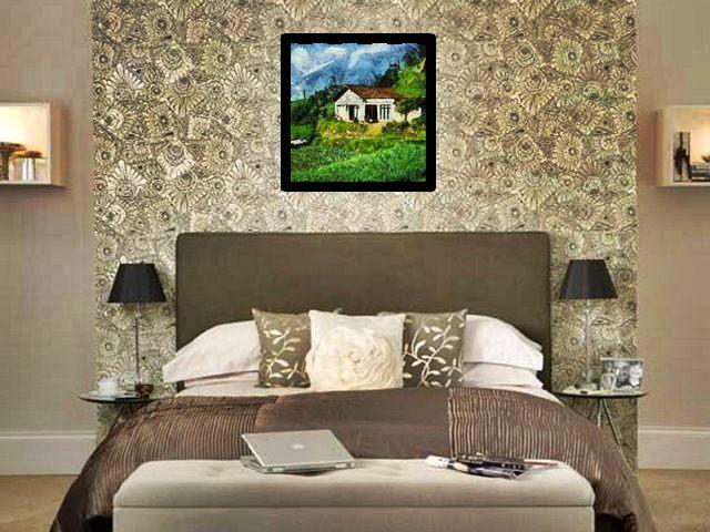 Download Gambar Wallpaper Lukisan Rumah Dipematang Sawah
