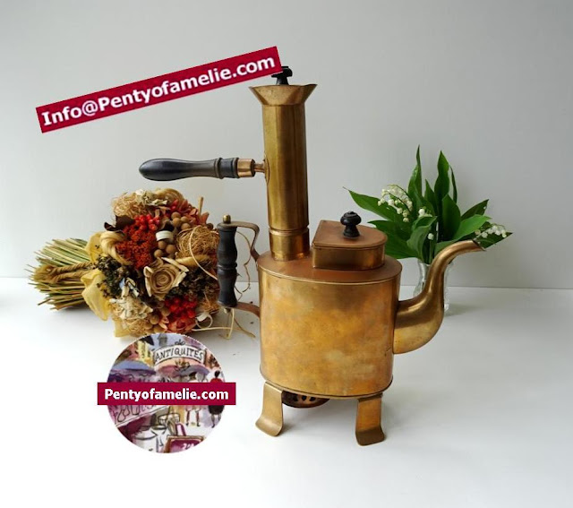 original vintage Italian or Turkey copper coffee pot,designing antique replica