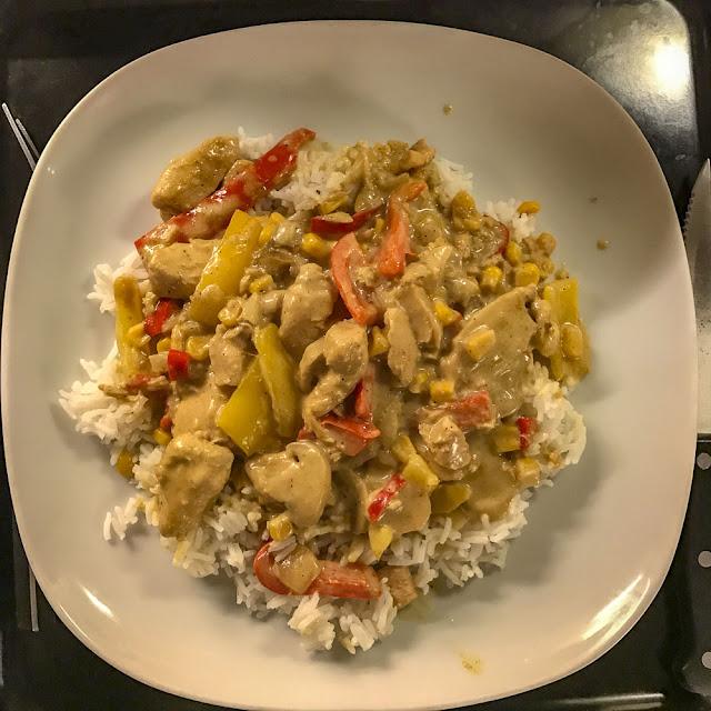 kycklinggryta, mangochutney, curry