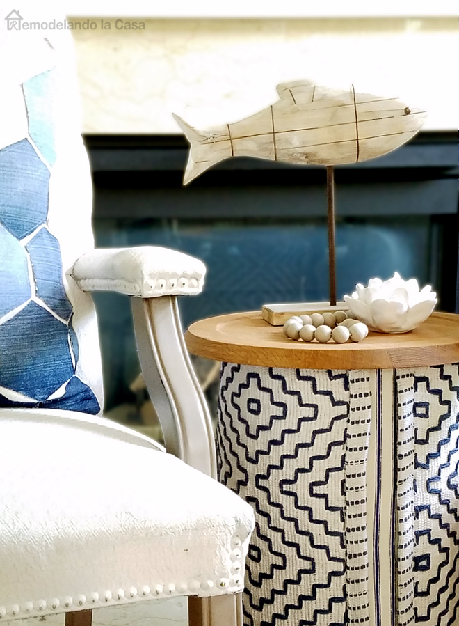 wooden fish on round table summer decor
