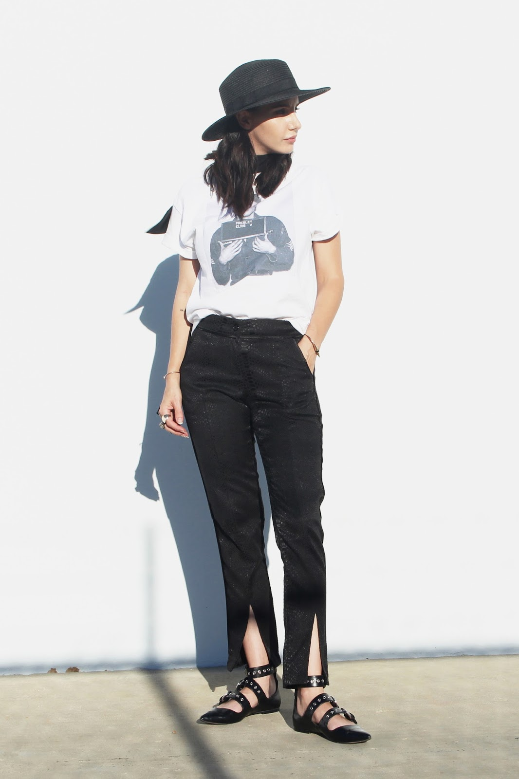 split hem pants, graphic tee,  ballet flats, fall trends
