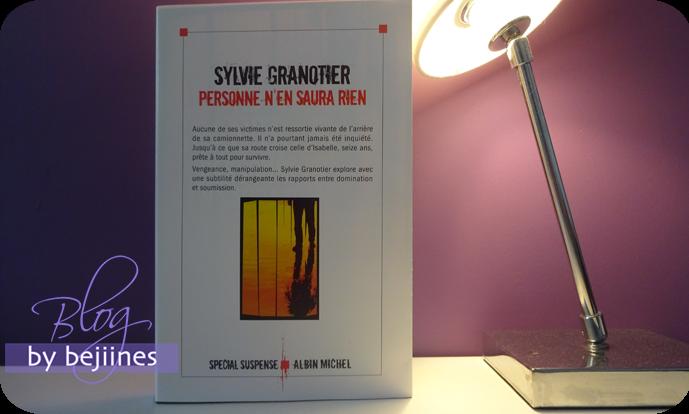 Livre - Personne n'en saura rien : Sylvie Granotier