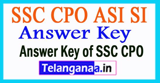 SSC CPO ASI SI Answer Key