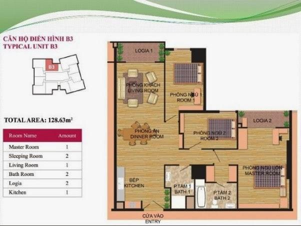 căn hộ B3 ( 128,63m2 ) chung cư Hà Đô Park View Dịch Vọng