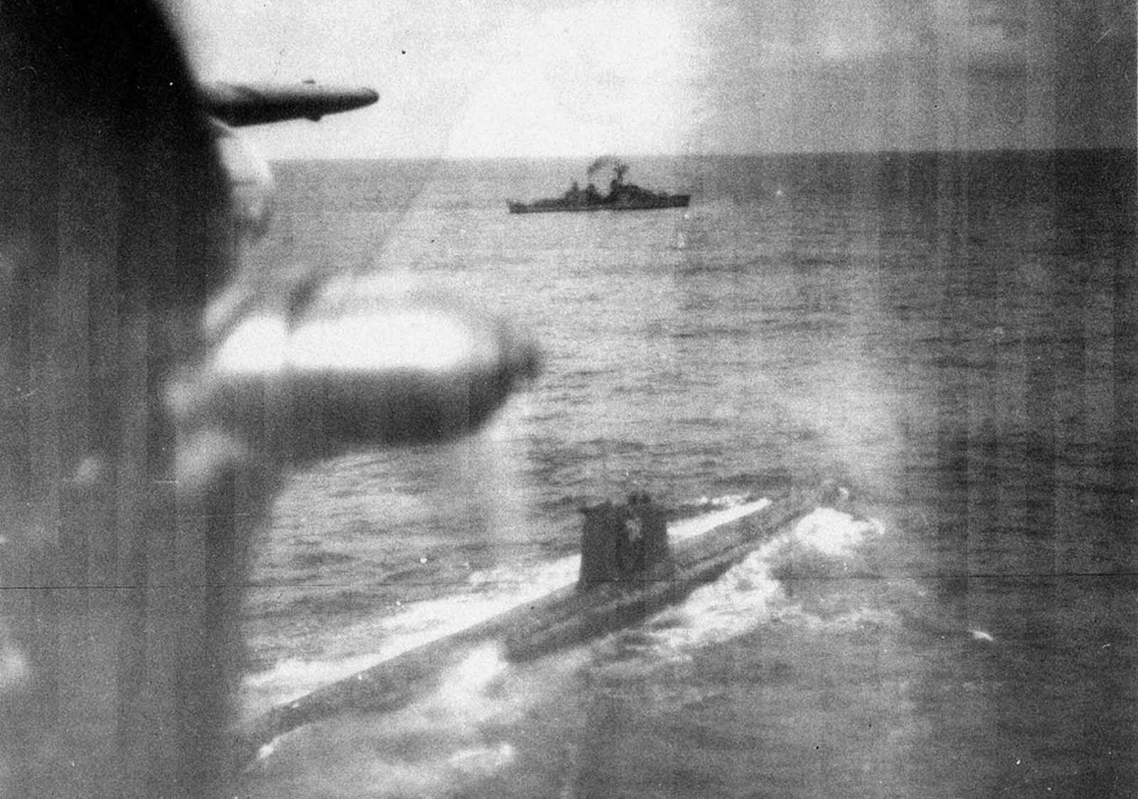 U.S. Navy surveillance of the first Soviet F-class submarine to surface near the Cuban quarantine line on October 25, 1962.