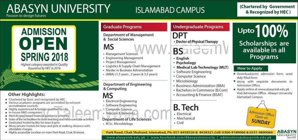 Admissions Open in Abasyn University Islamabad 2018