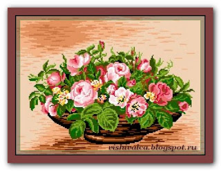 "Download embroidery scheme Rogoblen 7.03 ""Basket with Roses"""