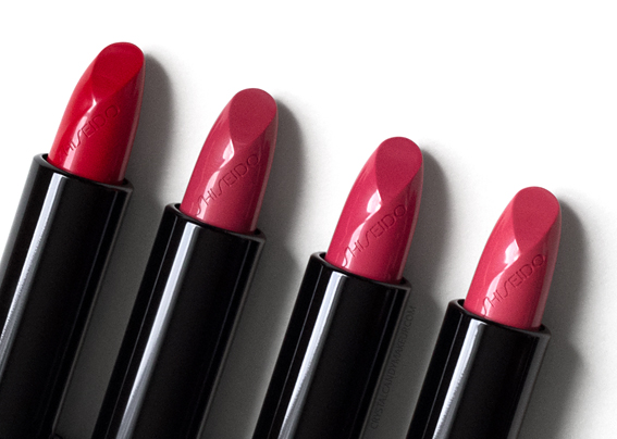 Shiseido Rouge Rouge Lipsticks Review Poppy Crime Passion Burning Up Coral Shore