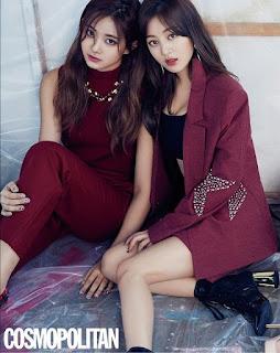 Foto Jihyo dan Tzuyu pemotretan Majalah Cosmopolitan 2018