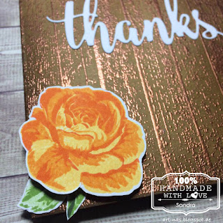 "Thank you card with Impression Obsession ""Wooden Plank"", MFT Thanks & Hello Die and Studiolight Color Layer Roses"