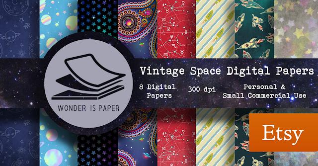 Papeles digitales vintage del espacio