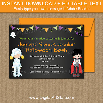 kids halloween invitation with mummy and vampire