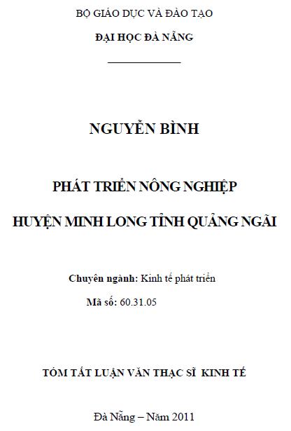 Phát triển nông nghiệp huyện Minh Long tỉnh Quảng Ngãi