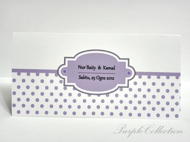 Polka Dots Wedding Invites, purple, malay wedding cards, polka dots card, invitation card